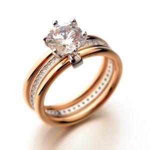 Gold and silver cubic zirconia ring